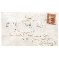 "1858 cover with 1d with type VIII ""Aultbea"" Ross-shire Scots Local handstamp."