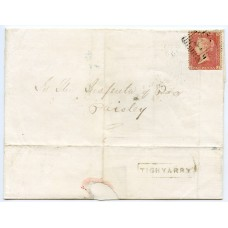 """1858 cover - 1d with type VIII """"Tighyarry"""" Isle North Uist, Scots Local namestamp."""