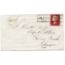 "1858 cover-1d  type IV ""Onich Onich"" Inverness-shire Scots Local handstamp."