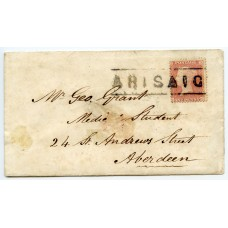 "1859 cover with 1d with type III ""Arisaig"" Inverness-shire Scots Local handstamp."