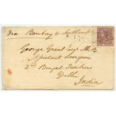 "1860 cover with 6d lilac to India with type V ""Arisaig"" Scots Local handstamp"