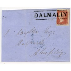 "1857 cover -1d with type III ""Dalmally"" Argyllshire, Scots Local handstamp."