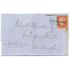 "1857 cover with 1d with type VIII ""Glenbarr"" Argyllshire, Scots Local handstamp."