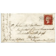 "1858 cover - 1d with type VIII ""Whitehouse"" Argyllshire Scots Local handstamp."