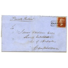 "1856 cover with 1d with type VIII ""Carridale"" Argyllshire, Scots Local handstamp."