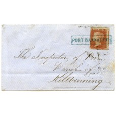 "1855 cover -1d  type VIII BLUE ""Port Bannatyne"" Isle of Bute Scots Local handstamp."
