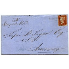 """1857 cover -1d  type VIII """"Bowmore Village"""" Isle of Islay, Scots Local handstamp."""