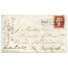 "1857 cover with 1d with type VIII ""Port Bannatyne"" Isle of Bute, Scots Local handstamp."