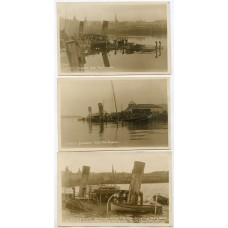 """1927 three real photographic postcards of """"R.M.S. Grenadier"""" submerged in Oban."""