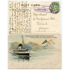 "1905 postcard with ½d EVII with the ""New Turbine Steamer ""Queen Alexandra"" cachet."