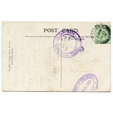 "1910 p/card EVII ½d with ""Posted on Board S.S. Fairy Queen"" + ""Lord of Isles"" cachets"