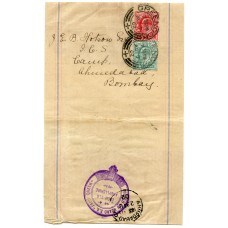 "1902 newspaper wrapper with belted ""Posted on Board S.S. Fairy Queen cachet to India."