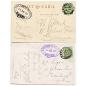 "1907/10 postcards with EVII ½ds with belted ""R.M.S. Lord of the Isles"" cachet."