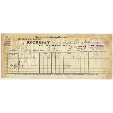 "1904 Parcel Way-Bill bearing ""Caledonian Steam Pk Co Ltd Marchioness of Bute"" cachet."