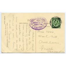 "1913 postcard with ½d ""Caledonian Steam Packet Co Ltd-Duchess of Hamilton"" cachet."