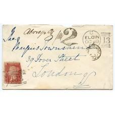 "1868 cover Elgin to London with ""2"" Postage Due handstamp franked 1d Pl. 96"