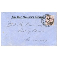 1900 I.R. Official 1d on cover from Inverness to Stornoway