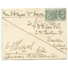 "Gibraltar 1891 cover with 2 x 5c  on a ""Soldiers Letter""  to Aberdeen, Scotland."