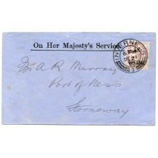 "1900 ""O.H.M.S."" envelope with 1d lilac ""I.R.Official"" from Aberdeen to Stornoway."