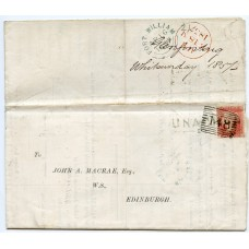 "1857 ""Double"" Scots Local cover from Edinburgh to Glenfintaig and returned."