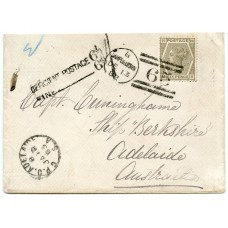 1882 cover with 6d grey pl 18, from Campbeltown to Adelaide, Australia.
