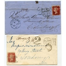 "1861 + 1868 Scottish covers showing blue and black ""2""d due handstamps"