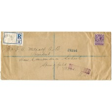 RARE 1913 Registered cover with KGV 3d  from the Isle of Harris to Springfield, U.S.A.