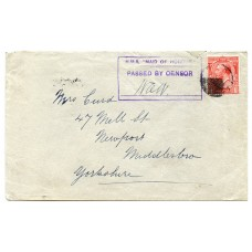 "1916 cover with KGV 1d with ""H.M.S. Maid of Honour"" cachet from Stornoway, Lewis."