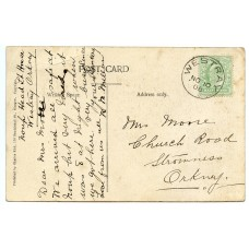 1908 postcard with EVII ½d with Westray, Orkney Islands, circular datestamp.