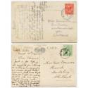 1911/25 SHETLAND postcards with EVII ½d + KGV 1d with Bixter + Bixter-Lerwick c.d.s.