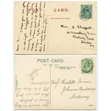 1903/09 postcards with EVII ½ds with Scalloway and Scalloway-Shetland c.d.s.