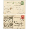 1905/19 SHETLAND p/cards EVII ½d + KGV 1d with Reawick + Reawick-Lerwick c.d.s.