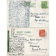 1911/18 postcards with KGV ½d and 1d issues with Ulsta, Shetland Islands c.d.s.