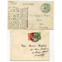 1911/20 SHETLAND postcard and cover with EVII ½d and KGV ½d &1d with East Yell c.d.s.
