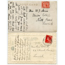1925/37 postcards with KGV 1d + EVIII 1d with Levenwick, Shetland Islands c.d.s.