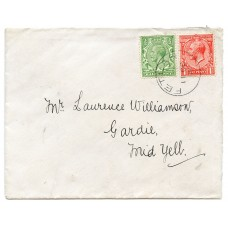 1931 cover with KGV ½d/1d with Fetlar, Shetland Islands circular datestamp.