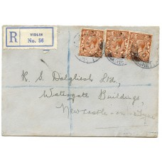 "1934 cover with three KGV 1½d issues being ""Registered"" from Vidlin, Shetland Islands."