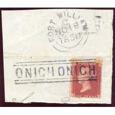 """1857 1d rose-red issue with """"Onich Onich"""" Type IV Scots Local Handstamp."""