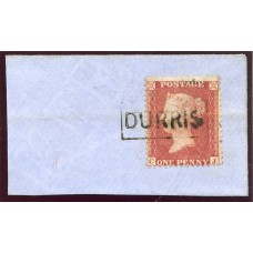 "1855 1d red-brown issue with ""Durris"" Kincardine VIII Scots Local handstamp."