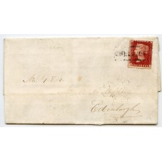 "1859 cover with 1d rose-red tied by the ""Cullivoe"" Type VIII, Scots Local handstamp."