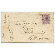 "1860 cover with 6d lilac to New Brunswick with ""Peterculter"" Scots Local handstamp."