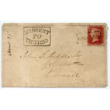"1859 cover with 1d rose-red tied by the ""Finstown"" Orkney, Scots Local handstamp."