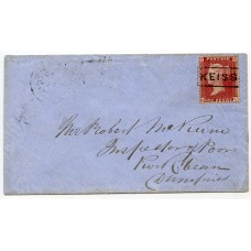 "1859 cover with 1d rose-red tied by the ""Keiss"" Type VIII Scots Local handstamp."
