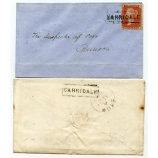 "1858/59 covers with ""Carridale"" Argyllshire, Type VIII Scots Local handstamps."