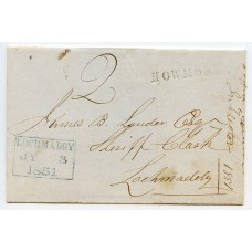 1851 cover from Howmore, South Uist, addressed to Lochmaddy, North Uist.