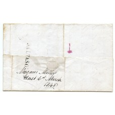 1848 cover from Baltasound, Island of Unst, Shetland Islands to Lerwick.