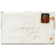 1840 1d black Pl.2 on cover with vivid red solid centre Maltese Cross of Royston