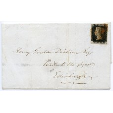RARE 1840 1d black Pl 5 on cover  from ORKNEY Islands to Edinburgh