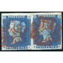 1840 2d deep bright blue pl. 1 superb pair AJ/AK with dark red Maltese cross