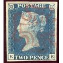 1840 2d blue pl. 1 KE with Aberdeen Ruby Maltese cross. R.P.S. Cert.